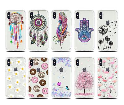 UK Stock Soft Pattern TPU Silicone Case Cover For iPhone 5/6/7/8/X Samsung