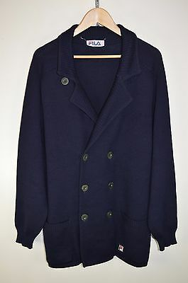 vtg 80s FILA BJ RARE RETRO CASUALS WOOL KNITTED CARDIGAN DOUBLE BREASTED D54 XL