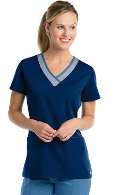 "Grey's Anatomy Scrubs Style 41399 Contrast V-Neck Scrub Top in ""IMF"", Size 2XL"