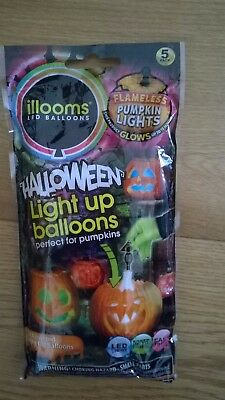 NEW IN SEALED PACK HALLOWEEN LED LIGHT UP BALLOONS x 5 PACK