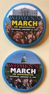 """Two 3"""" Women's March on Washington (January 21, 2017) Cause Pnback Buttons"""
