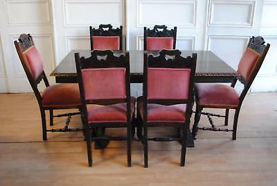 Lovely Antique Vintage Dining Suite 6 Edwardian Chairs English Oak Dining Table