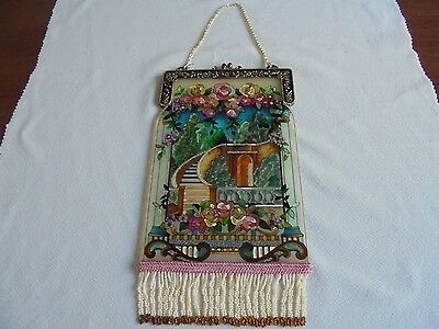 Amia Hand Painted Victorian Purse with Rhinestones Stained Glass