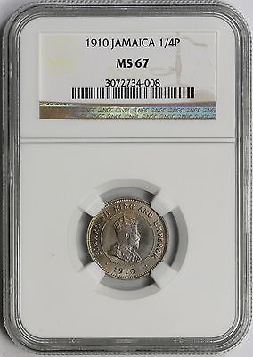 1910 1/4P NGC MS 67 (1/4 Penny) Jamaica