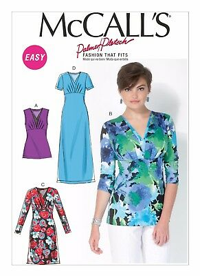 McCall's Sewing Pattern 7092 M7092  Misses 16-24 Surplice Tops and Dresses