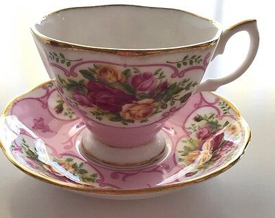 Royal Albert Pink Rose Cameo Tea Cup And Saucer