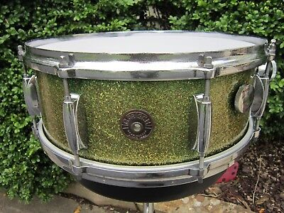 Gretsch Round Badge  5 1/2 X 14 Broadkaster Snare Drum Green Sparkle 1950's 3Ply