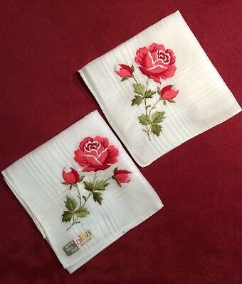 Matching Pair Of Swiss Alba Hankies Pink Roses Original Condition Tag Appenzell
