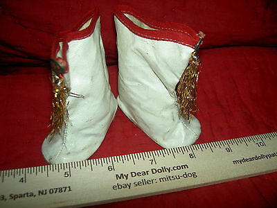 Large Ideal Mary Hartline white oilcloth majorette doll boots red trim & tassels