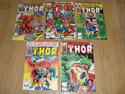 MARVEL COMICS ... The MIGHTY THOR ... Comic Lot early 1980's ( #298 to 302 )