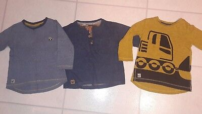 3 x baby boy Next long sleeved tops - size 12-18 months