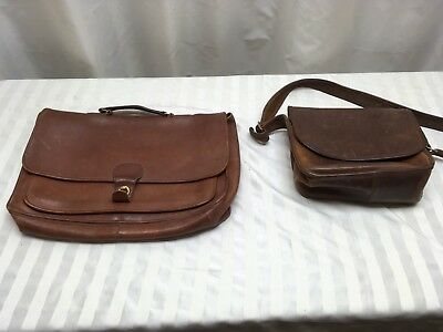2 - VTG Coach Brown Leather Briefcase Messenger Crossbody Business Laptop Bags
