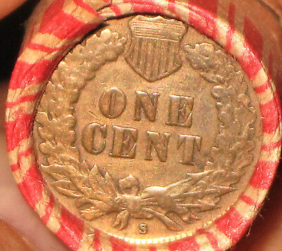 "WHEAT PENNY ROLL 1908s OR 1909s INDIAN HEAD SHARP ""S"" AND DETAIL & IH  REV R502"