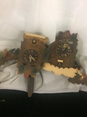 "LOT OF 2 VINTAGE ""GERMANY""  CUCKOO CLOCKS For  REPAIR OR PARTS ONLY"