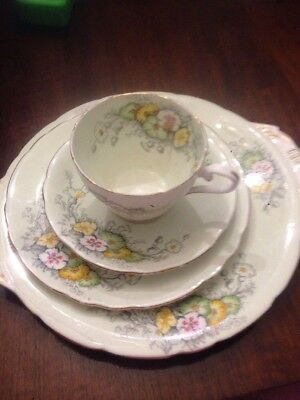 Vintage Aynsley Trio Cup, Saucer And Plate With Bonus Cake Plate