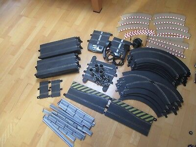 large scalextric collection with cars, track, barriers, controllers, lap count,
