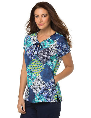 "Koi Scrubs Style 129 Ruffled V-Neck Scrub Top in ""Retro Patchwork"", Size XL"