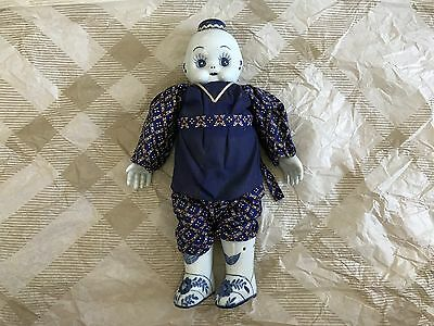 Vintage Chinese Blue  White Porcelain Head Asian Doll