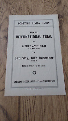Scotland v Rest 1954 Rugby Union Final Trial Programme