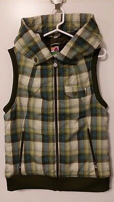 Burton Dryride Snowboard Ski Hooded Vest Plaid Green Full Zip Jacket Womens XL