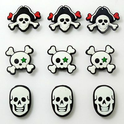 Skull Shoe Charms Fits Jibitz Clog Shoes & Bands Wristband Child Gifts 9pcs
