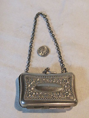 Antique repousee Art Nouveau metal coin purse French or German doll purse