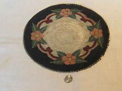 "Antique silk hooked floral pattern miniature dollhouse rug, 8"" diameter"