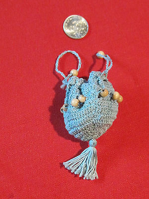 Vintage crocheted & beaded drawstring coin purse or French or German doll purse