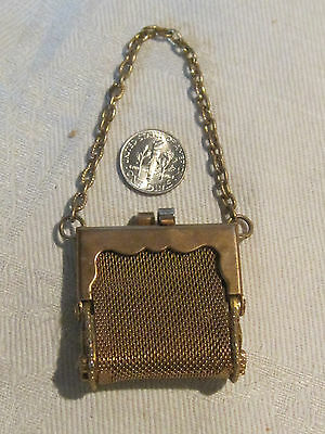 Antique gold mesh Art Nouveau metal coin purse French or German doll purse
