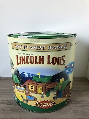 K'Nex Wild West Ranch Wooden Lincoln Logs Covered Wagon Horses Cowboys 2000 NEW