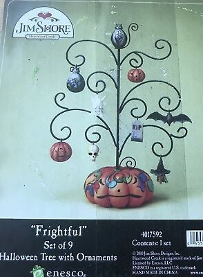"Jim Shore ""FrIghtful""  HALLOWEEN TREE with 9 ORNAMENTS 4017592"