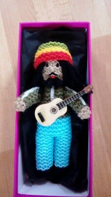 Handmade knitted Bob marley doll gift boxed