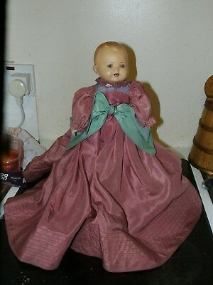 Strange Antique Doll in Dress with Glass Sleeping Eyes and Germany 1351/1 Neck