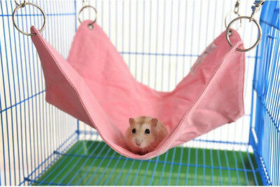 Pet Hammock Hamster Gerbil Mice Rat Rodents Hanging Bed Cage Pink/Blue 33x30cm