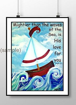 Whmsical sailboat nautical nursery wall print bible quote cute kid wall decor
