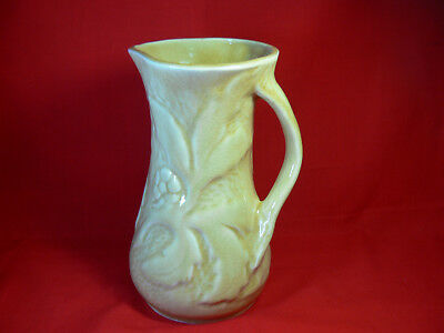 Antique POTTERY JUG with BRANCH HANDLE Relief Moulded Botanic Pattern Pitcher GC