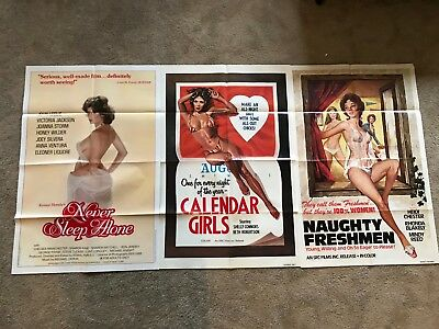 Lot of 3 original vintage 27x41 one sheet movie posters! 1940s - 1980s ADULT XXX