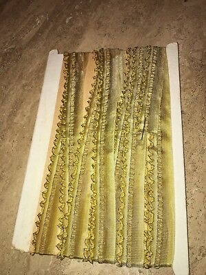 ANTIQUE FRENCH Gold Ruffled Metal Edge RIBBON  - 5 YARDS