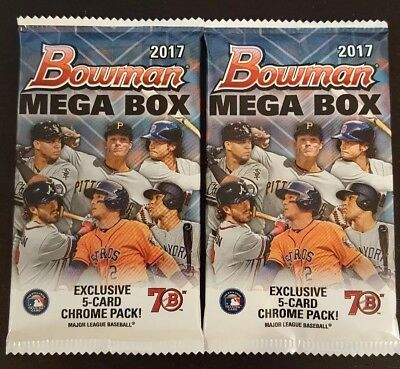 (2) PACK lot of 2017 BOWMAN CHROME baseball! Factory sealed from MEGA BOX. HOT!!