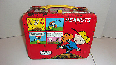 Peanuts Thermos Snoopy Metal Lunchbox 1970's lucy Woodstock
