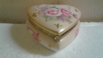 Antique Vintage Heart Shaped Hinged & Flower Jewelry Box