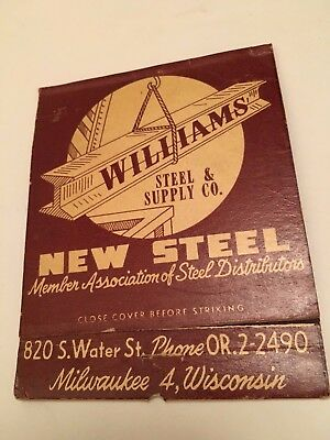 "Williams Steel & Supply Co ""1952"" Milwaukee Wisconsin Giant Feature Matchbook"