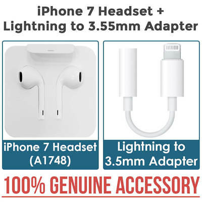 NEW GENUINE iPhone 7 Headset A1748 Lightning Cable Connector + 3.5mm Adapter