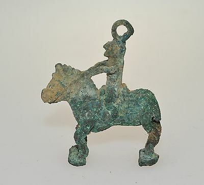 Greaeco-Bactrian bronze amulet of a horse and rider 3rd-2nd B.C.  x9254