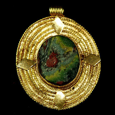 Roman-Egyptian Glass set in modern 15ct gold as pendant. y224
