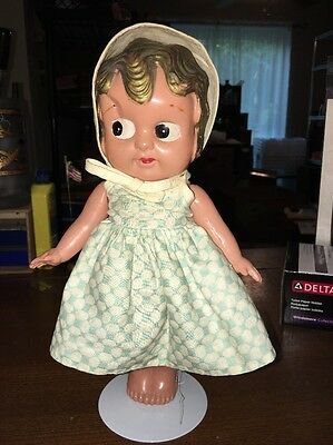 Vintage Celluloid Royal Big Eye Baby Girl Doll Toy Kewpie Japan
