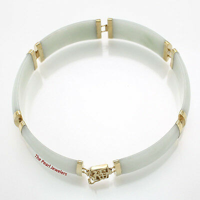 14k Yellow Gold w/ 6 Segments of 15x30mm Celadon Green Jade Bracelet 26.1 Gm TPJ