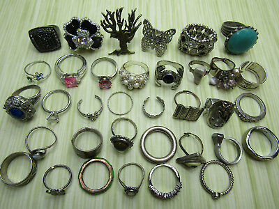Costume Jewelry Ring Lot As Is Silver Tone Sparkle Flowers Stones Pink Blue