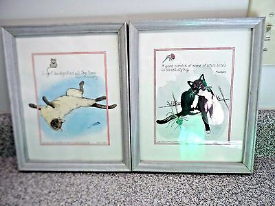 Adorable pair of signed original  hand colored fanciful cat artworks framed