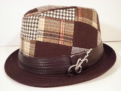 Carlos Santana Fedora Hat Plaid Houndstooth Brown One Size Guitar Polyester HTF